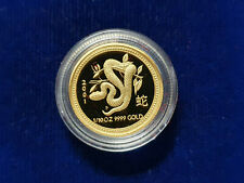 🌟2001 Year of the SNAKE 1/10 Oz $15 PROOF Gold Lunar Perth Mint Australia Coin
