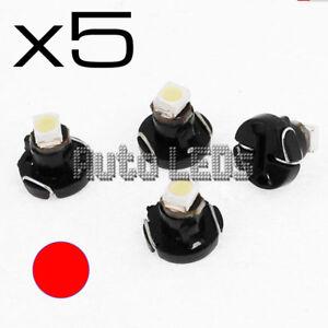 5 Red SMD LED T3 Neo Wedge 12v Interior LED Bulb
