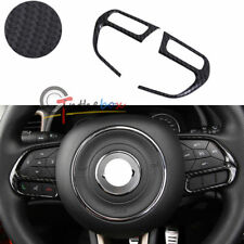 (2) Carbon Fiber Style Steering Wheel Outlet Cover Trim For Jeep Renegade
