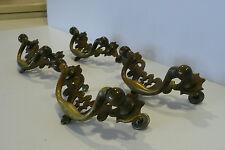 4  Vintage Chippendale Pierced Brass Bail Pull Furniture Hardware Dresser Pull