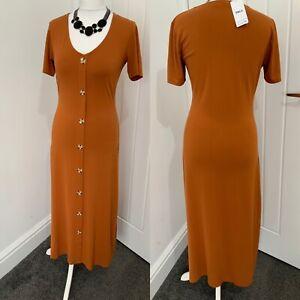 Dorothy Perkins Ochre Faux Horn Button Effect Sz 10 Tall Midi Dress BNWT
