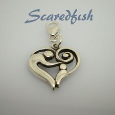 Mom and Child in Heart Sterling Silver Clip on Charm Pendant