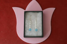 & blue crystal in gift box Elegant Earrings with Freshwater White Pearls