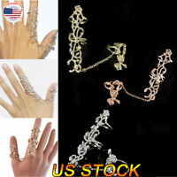 Fashion Rose Girl Two Finger Ring Womens Crystal Rings With Chain Jewelry Decor