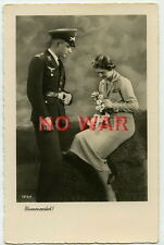WWII POST CARD PHOTO THE DATE OF LUFTWAFFE YOUNG SOLDIER & BEAUTY YOUNG LADY +