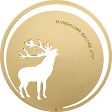 ROARING DEER Mongolian Nature Silver Gold Gilded Coin 500 Togrog Mongolia 2017