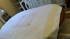 VINTAGE HEAVY COTTON  EMBROIDERED WHITE  FLORAL TABLE CLOTH