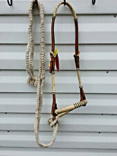 Medium Oil Brown Leather Bridle w Rawhide Bosal Bitless Bridle & Mecate Reins