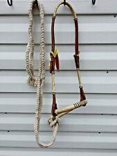 Medium Oil Brown Leather Bitless Bridle w Rawhide Bosal Hackamore & Mecate Reins