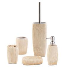 5-tlg Keramik Badset - Seifenspender Becher Klobürste Seifenschale Bürstenhalter