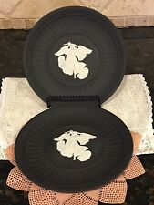 Pair of Two Wedgwood, Black Jasperware, Athens Plate, Greek Angel