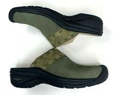 Keen Womens Clogs Slide on Mules Green Suede Aztec Southwestern Comfort 7.5 38