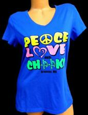 Bella blue yellow peace love and cheeky branson, mo print v-neck tee top XL