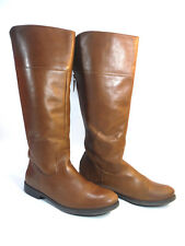 STEVEN tall brown glossy leather double harness wedge heel boots 7.5 $189