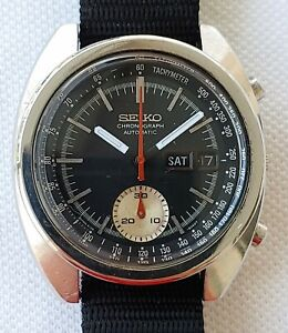 Seiko 6139-6012 Chronograph Automatic Black Dial Mens June 1977