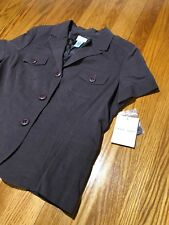EMMA JAMES WOMAN Size 16 Brown Button Up Top Jacket Lined Short Sleeves NEW
