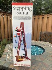 Mr Christmas Stepping Santa Climbing Ladder Lights Animation Song Carols Sleigh