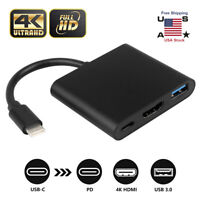 USB 3.1 Type-C To HDMI Adapter Converter HDTV 3in1 Hub Charger Cable For Macbook