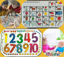 Set of 2 Kids Numbers & Alphabet Place Mat Placemats Table Mats Children Party