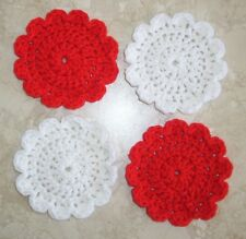 SET OF 4 ROUND COASTERS, Crochet, NEW, Red and White, HANDMADE, Original Design