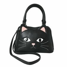 Black Cat Face Vinyl Handbag Purse - Ears Whiskers Detachable Shoulder Strap