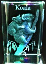 AUSTRALIAN KOALA WITH BABY ON BACK Souvenir 3D CRYSTAL Laser+4LIGHT NEW GIFT BOX