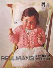Baby Cardigan Knitting Pattern, 18 inch chest, 3 types of wool 3 ply 4 ply & DK