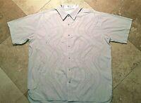 COOGI Embroidered Short Sleeve Button Up Front Shirt Cotton Beige 2XL Men