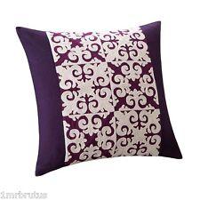 "Natori Sumatra 18"" Square Decorative Toss Pillow Embroidered Purple Beige Linen"