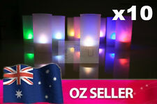 10 X Electronic LED Multi Colour Candles with Holder - Wedding Party Light NEW