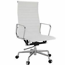 Eames Office Chair Style High Back Management Reproduction Ribbed White Leather