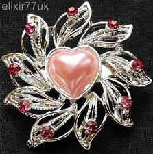 NEW SILVER FLOWER HEART PINK CRYSTAL FAUX PEARL BROOCH WEDDING GIFT PARTY BROACH