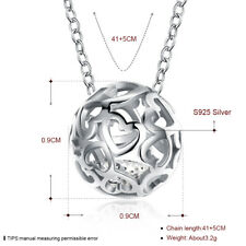 Genuine 925 Sterling Silver Filigree Heart Ball Drop Pendant Charm Necklace Gift
