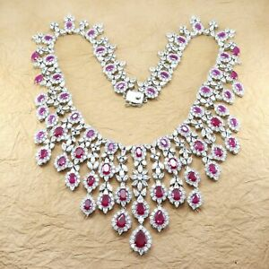 Cubic Zirconia Ruby Bridal Collection Necklace Earring set 220 RN 7