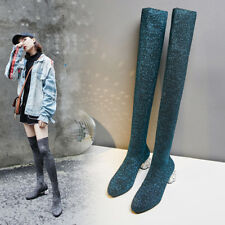 44ba38ecf Womens Pull On low Block Heel Shoes Long Stretch Sock Over The Knee Boots  Chic