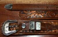 Vtg Alpaca Silver MEXICO Ranger 4 piece Western BELT Buckle Set & Tool Belt 38