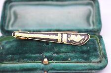 Vintage Gold tie clip with damascene design #T441