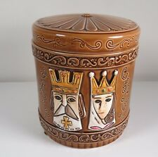 Porcelain Tobacco Jar Humidor Brown Embossed w/ King & Queen Faces