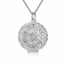 925 Silver Plt Open Victorian Filigree Round Photo Locket Pendant Necklace a