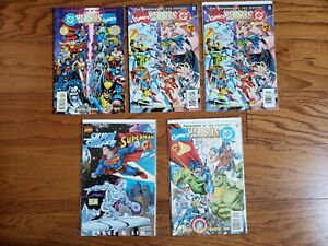 MARVEL VS DC / DC VS MARVEL lot of 6 comics - Superman vs Spider-Man, etc 90's