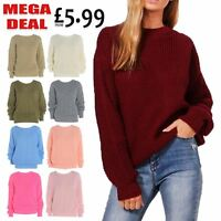 New Ladies Chunky Knitted Plain Colour Baggy Jumper Womens Long Sleeve Sweater