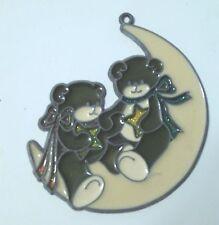 Teddy Bears Sitting on Moon Wall Plaque 4in x 4in
