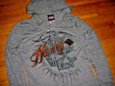 Harley-Davidson Womens Riders Bliss Full Zip Long Sleeve Hoodie Shirt Gray M