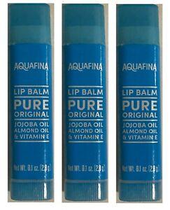 Aquafina Lip Balm With Jojoba Oil Almond Oil & Vitamin E Pure Original Lot of 3