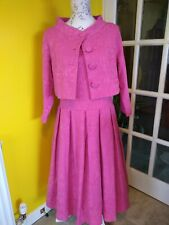 Lindy Bop Marianne Bubblegum Pink Twin Set Swing Dress & Matching Jacket Size 16