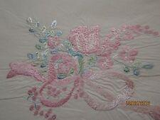 Magnifique drap en coton et sa taie de traversin brodé fleur et ruban