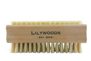 Lilywoods Extra Tough Wooden Nail Brush with Double Sided Strong Cactus Bristles