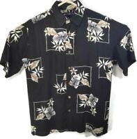 Puritan Mens S Hawaiian Aloha Shirt Black with Tropical Print