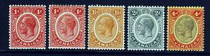 JAMAICA KG V 1912-20 Definitive Wmk Multiple Crown CA Group SG 58 to SG 63 MINT