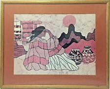 Vintage Goldfarb Large Native American Woman Framed Batik Artwork Signed Limited